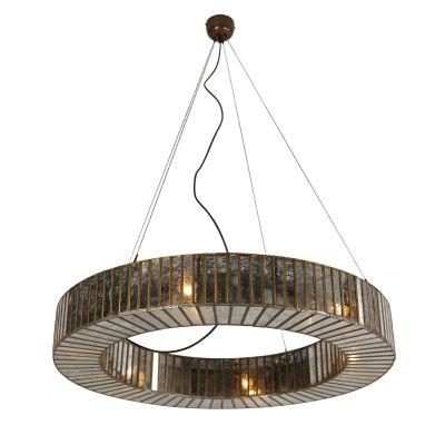 Boho Antique Brass Round Ceiling Light