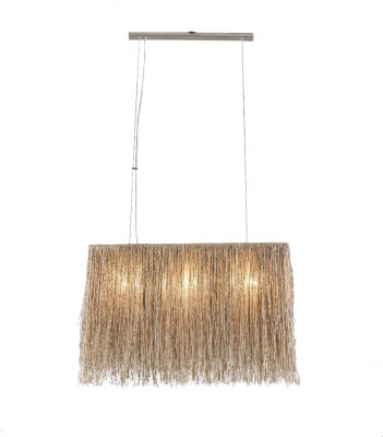 Boho Natural Glass Bead Rectangle Ceiling Light