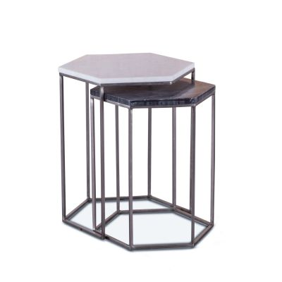 Mod Nesting Hexagon Side Table Set with Marble Tops