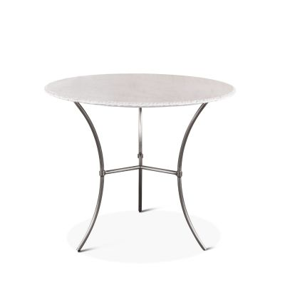 "Mod 36"" Round White Marble Dining Table"