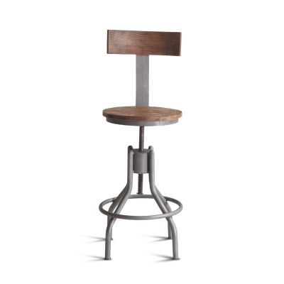 Industrial Loft Adjustable Stool with Backrest in Weathered Gray