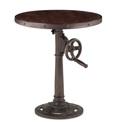 "Industrial Loft Adjustable Side Table 24"" Walnut Antique Zinc"