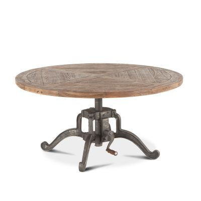 Industrial Loft Coffee Table Adjustable Round 42""
