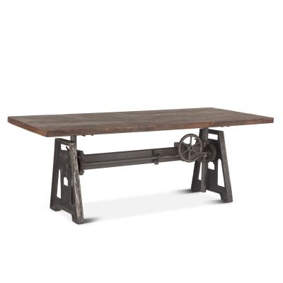 "Industrial Loft 84"" Adjustable Dining Table Weathered Gray"