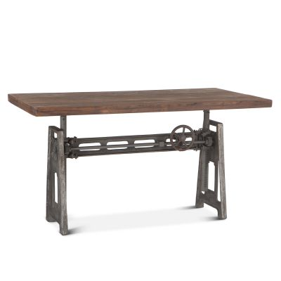 "Industrial Loft 60"" Adjustable Crank Desk Weathered Gray"