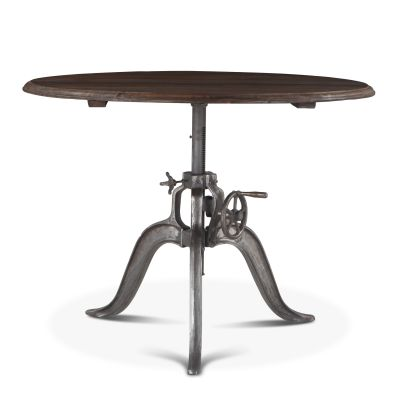 "Industrial Loft 48"" Adjustable Round Dining Table Weathered Gray"