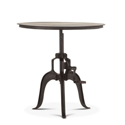 "Industrial Loft 30"" Adjustable Round Side Table in Matte Black"