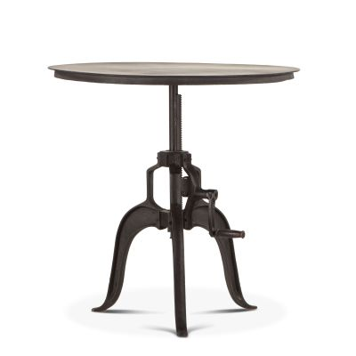 "Industrial Loft 36"" Adjustable Round Side Table in Matte Black"