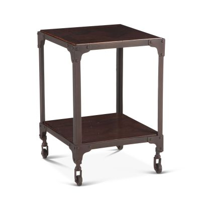 "Industrial Loft Square Side Table 16"" Chestnut"