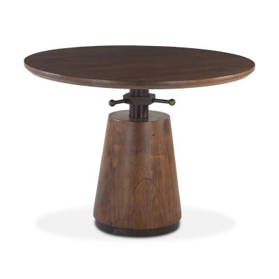 "Industrial Modern 40"" Adjustable Round Table Walnut"