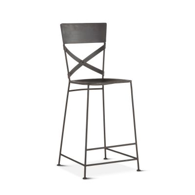 Industrial Loft Hammered Iron Bar Chair Matte Black