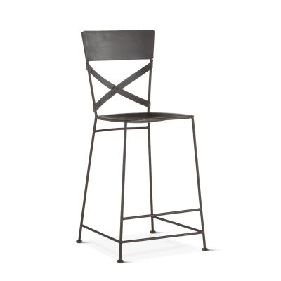 Industrial Loft Hammered Iron Counter Chair Matte Black