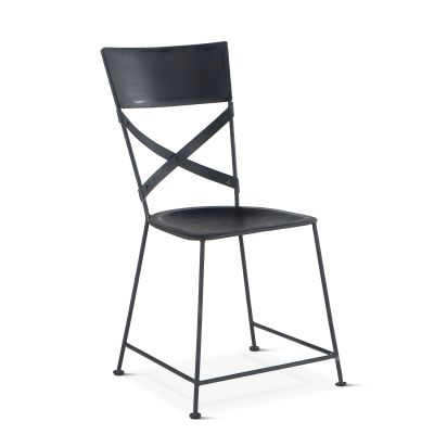 Industrial Loft Hammered Iron Dining Chair Matte Black