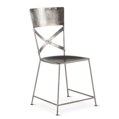 Industrial Loft Hammered Iron Dining Chair Antique Nickel