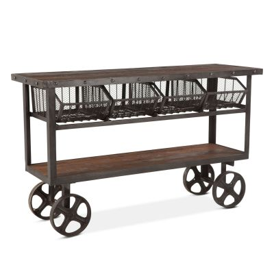 "Industrial Teak 60"" Reclaimed Wood Utility Cart Table"