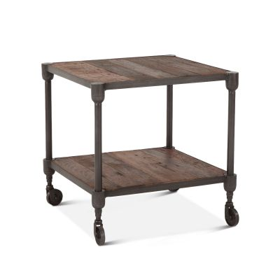 "Industrial Teak 22"" Side Table"