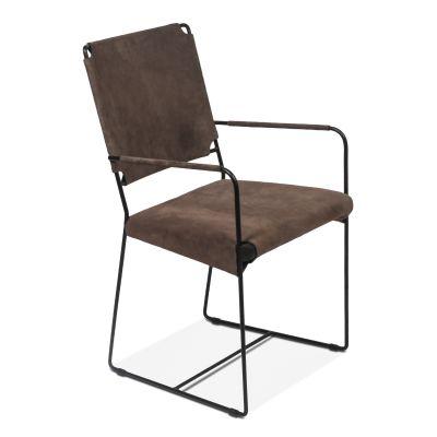New York Arm Chair Asphalt Suede Leather