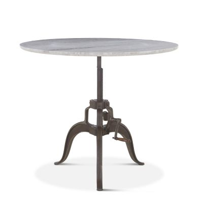 "Pittsburg Adjusting Round Table 48"" White Marble"
