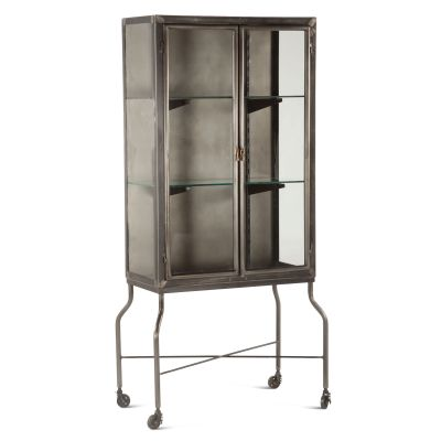 "Pittsburg 32"" Wide Metal Glass Cabinet"