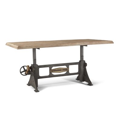 "Steel City 72"" Adjustable Dining Table Antique Oak"
