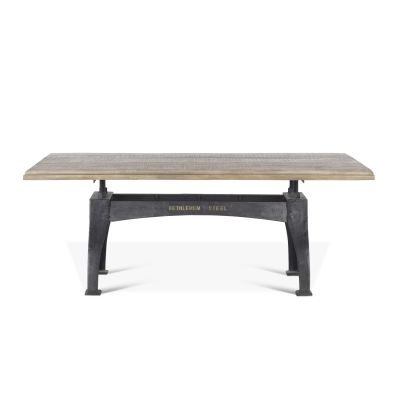 "Steel City Dining Table 78"" Antique Oak"