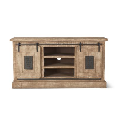 "Steel City 64"" Plasma Cabinet Antique Oak with Sliding Wooden Door"