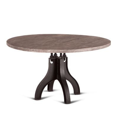 "Steel City Round Dining Table 60"" Weathered Gray"