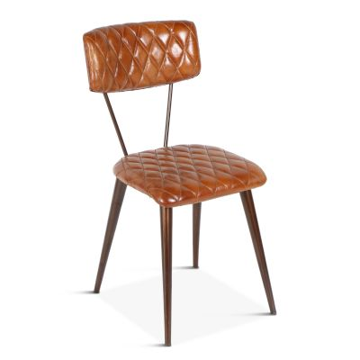 Celeste Iron Dining Chair with Diamond Leather