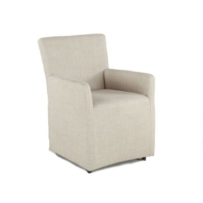 Peabody Off-White Linen Wheeled Armchair