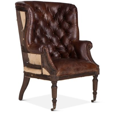 Welsh Deconstructed Armchair with Vintage Cigar Leather