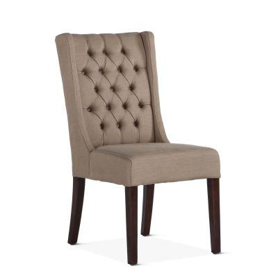 Lara Dining Chair Dark Beige with Dark Legs