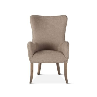 Loft Beige Linen Tufted Armchair with Silver Nailhead Trim