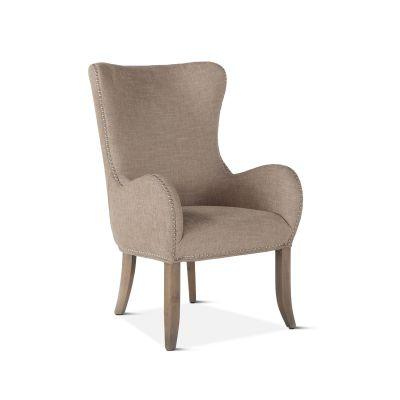 Loft Beige Linen Armchair with Silver Nailhead Trim