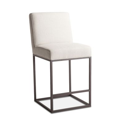 Renegade Off-White Linen and Iron Counter Chair