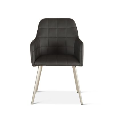 Thompson Black Eco-Leather Dining Armchair