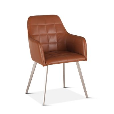 Thompson Tan Eco-Leather Dining Armchair