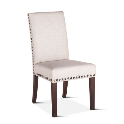 Sofie Dining Chair Off-White Linen with Walnut Legs