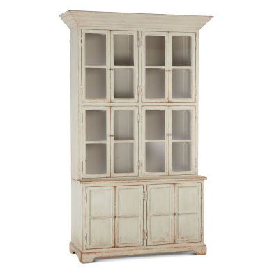 "Library 60"" Wide Glass Cabinet Antique Light Green"