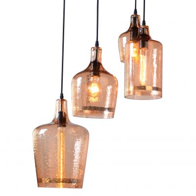 Luminaire Hammered Glass Pendant Light Group of 4