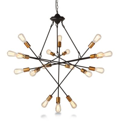 Luminaire Black and Gold 18-Light Chandelier