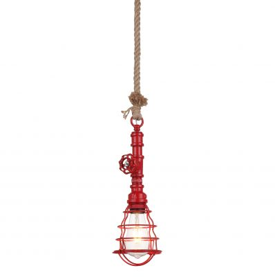 Luminaire Industrial Red Cage Pendant with Valve