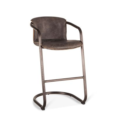 Portofino Leather Bar Chair Antique Ebony