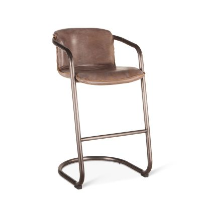Portofino Leather Bar Chair Jet Brown