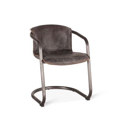 Portofino Leather Dining Chair Antique Ebony