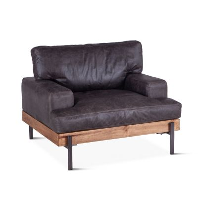 Portofino Leather Armchair Morocco Black