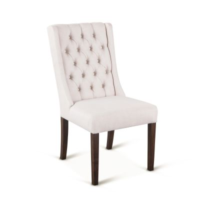 Lara Dining Chair Off-White with Weathered Teak Legs