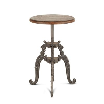 French Vintage Adjustable Stool Weathered Gray