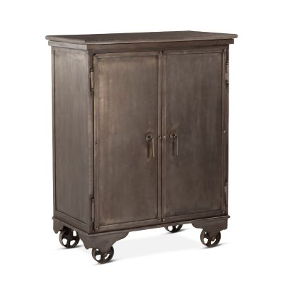"Hobbs Metal 38"" Bar Cabinet Weathered Mango Top"