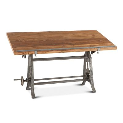 "Industrial Loft 62"" Adjustable Drafting Desk Natural"