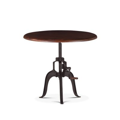 "Industrial Loft 36"" Adjustable Round Side Table in Walnut"